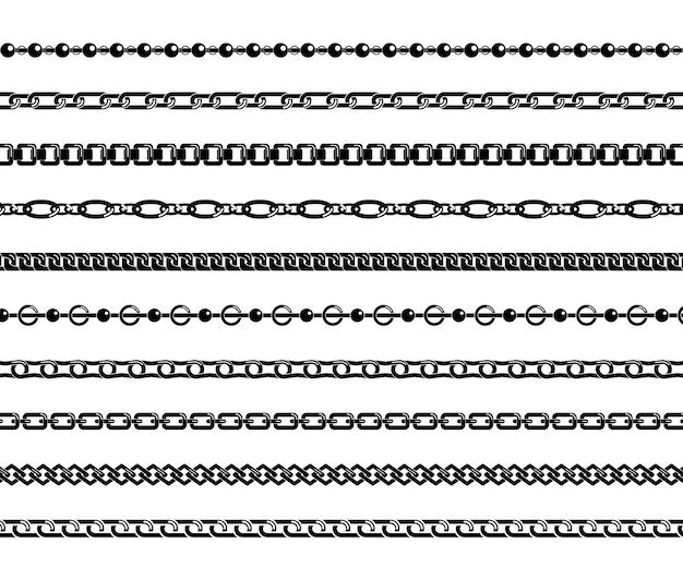 Set van zwarte kettingen geïsoleerd op een witte achtergrond.