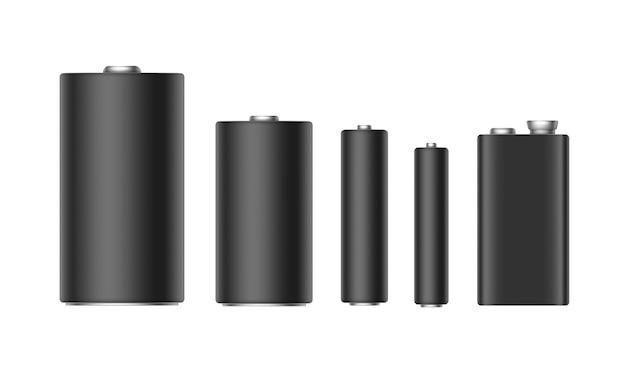 Set van zwarte matte alkalinebatterijen van verschillende grootte aaa, aa, c, d, pp3 voor branding close-up geïsoleerd op witte achtergrond