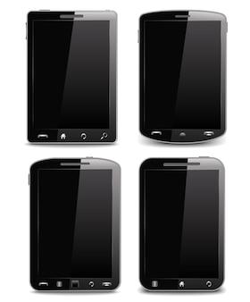 Set van zwarte mobiele telefoons