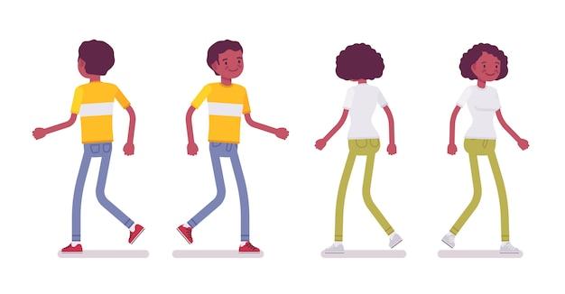 Set van zwarte of afrikaanse amerikaanse jonge man en vrouw lopen