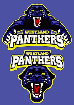 Set van zwarte panter mascotte sport logo