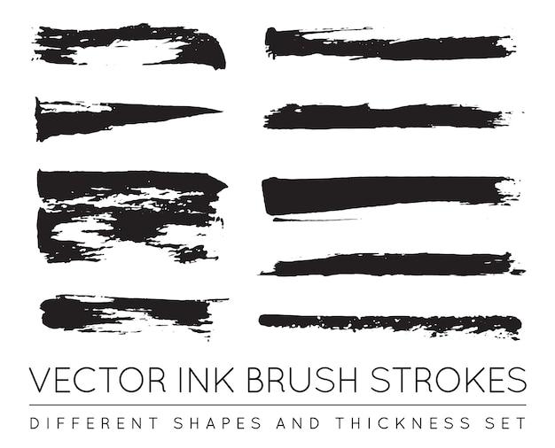 Set van zwarte pen inkt penseelstreken. grunge inkt penseelstreek. vuile penseelstreek.