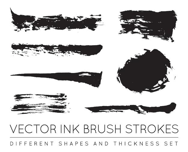 Set van zwarte pen inkt penseelstreken