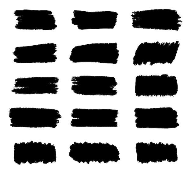Set van zwarte penseelstreken, vuile artistieke grunge ontwerpelementen, tekstvak