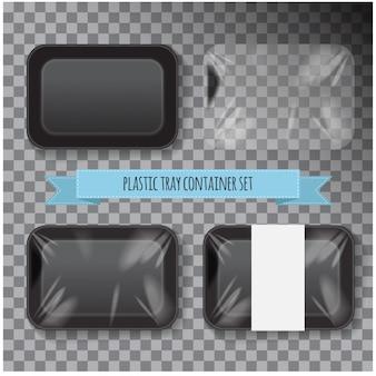 Set van zwarte rechthoek piepschuim kunststof voedsel lade container.