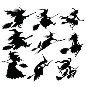 Set van zwarte silhouetten van heksen vliegen op een bezemsteel.