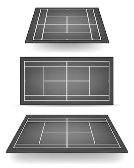 Set van zwarte tennisbanen met perspectief.