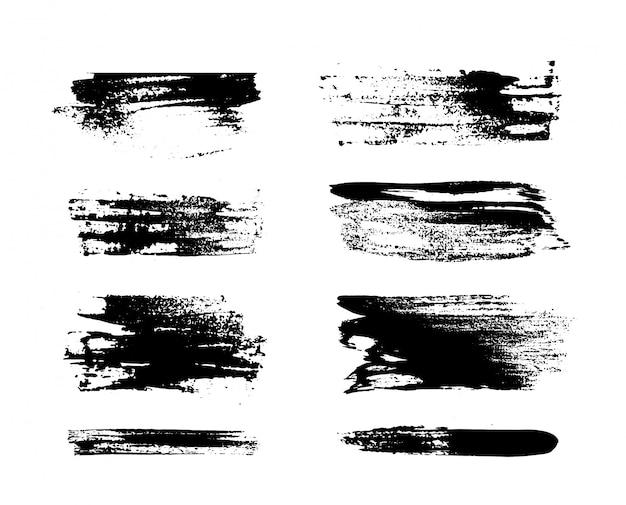 Set van zwarte verf, lijnen, borstels. decoratie-elementen