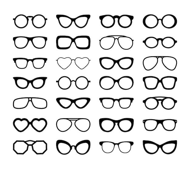 Set van zwarte verschillende brillen.