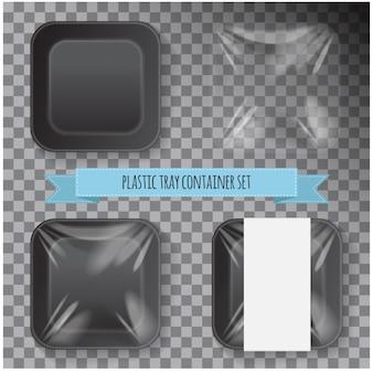 Set van zwarte vierkante piepschuim plastic voedselbak container.
