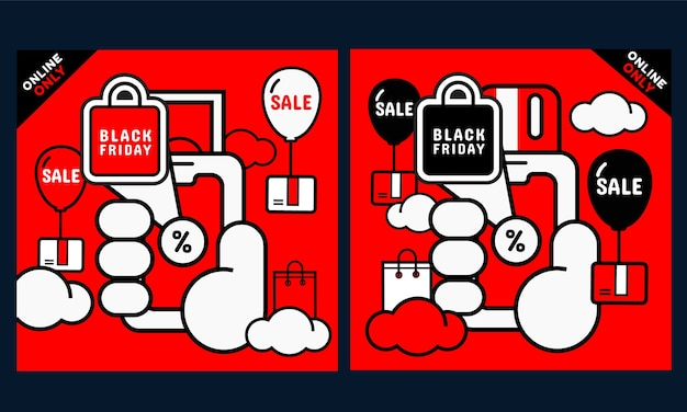 Set van zwarte vrijdag promotie banner. hand met telefoon met scherm voor online winkelen. vector