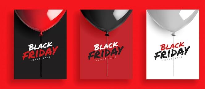 Set van zwarte vrijdag super verkoop achtergrond, ballonnen met touw. ontwerp voor poster banner kaart