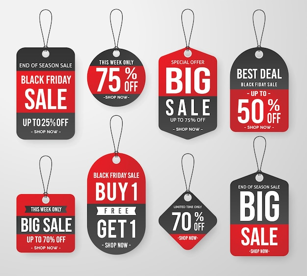 Set van zwarte vrijdag verkoop prijskaartje labelsjabloon