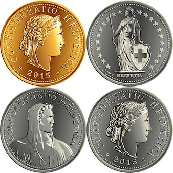 Set van zwitserse geld frank munten
