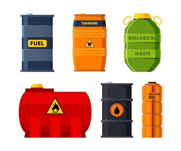 Set vaten voor olie of giftige brandstof