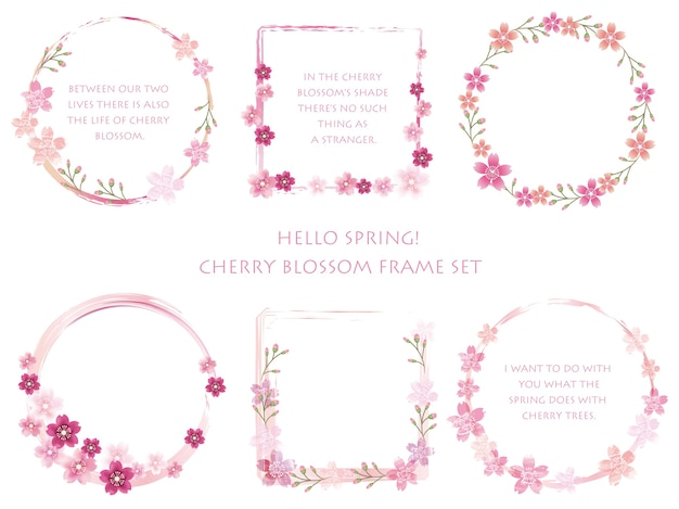 Set vector cherry blossom frames met bloemendecoraties