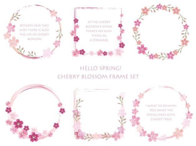 Set vector cherry blossom frames met bloemendecoraties