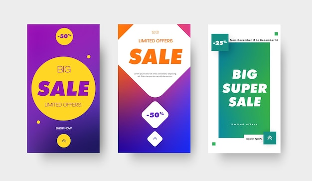 Set vector kleurverloop banners met vierkant, cirkel en ruit en 25 en 50% korting voor grote verkoop, speciale aanbiedingen. ontwerpsjabloon voor mobiele applicaties, verhalen en sociale media.