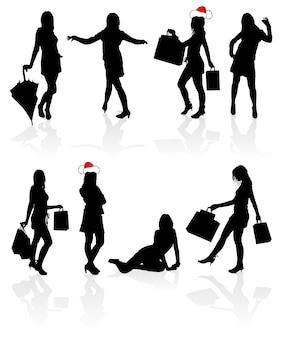 Set vector silhouetten meisjes met tas, illustratie