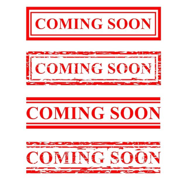 Set vectorrectangle rode rubberen stempel binnenkort beschikbaar