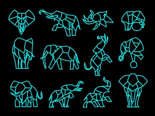Set veelhoek olifant tatoeages logo