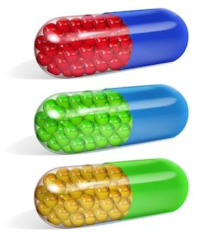 Set veelkleurige half transparante langwerpige capsules gevuld met kleine korrels, met schaduwen op witte achtergrond