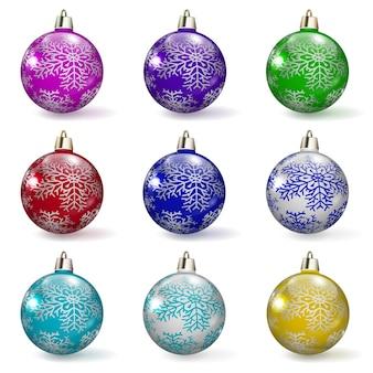 Set veelkleurige kerstballen met verschillende ornamenten