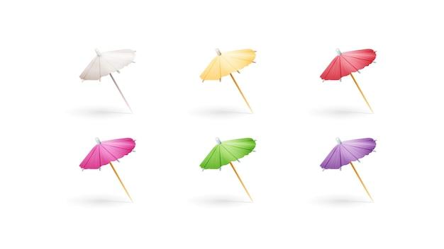 Set veelkleurige papieren cocktailparaplu's geïsoleerd op een witte achtergrond