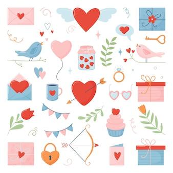 Set veelkleurige pictogrammen voor valentijnsdag. vlakke stijl.