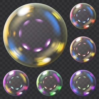 Set veelkleurige transparante zeepbellen met blikken