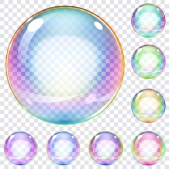 Set veelkleurige transparante zeepbellen op een geruite achtergrond