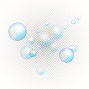 Set veelkleurige transparante zeepbellen.