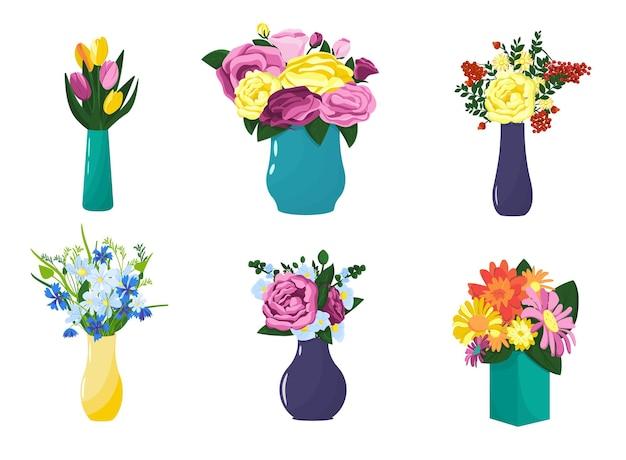 Set veelkleurige vazen met bloemen in verschillende kleuren