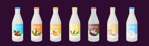 Set veganistische plantaardige melk glazen fles biologische zuivelvrije natuurlijke rauwe veganistische melk gezonde koe drank alternatief horizontaal