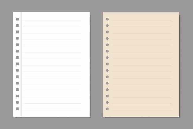 Set vellen papier, realistische papieren pagina