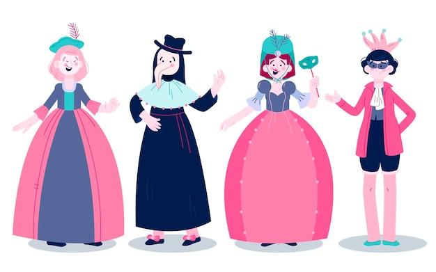 Set venetiaanse carnaval karakter kostuums