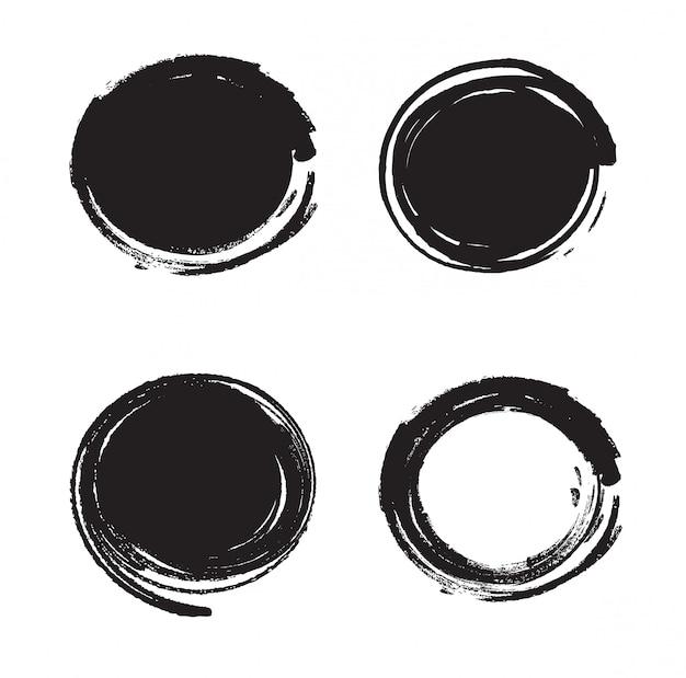 Set verf penseelstreken geïsoleerd