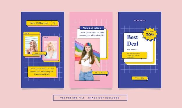Set verhalen flyer met blauw roze kleuren mode retro thema voor sociale media.