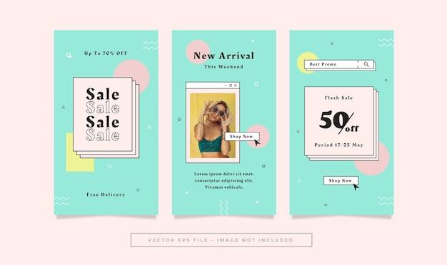 Set verhalen flyer met groenblauw roze gele kleuren mode retro thema voor sociale media.