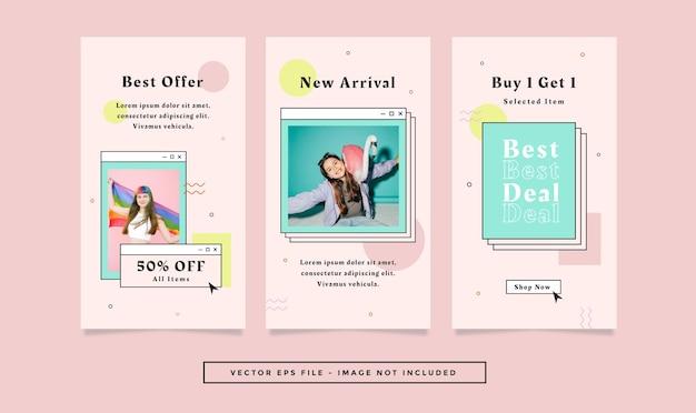 Set verhalen flyer met roze groenblauw kleuren mode retro thema voor sociale media.