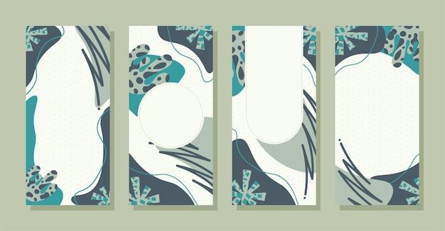 Set verhalen kleurrijke memphis moderne abstracte vormen tosca met stippen achtergronden vector