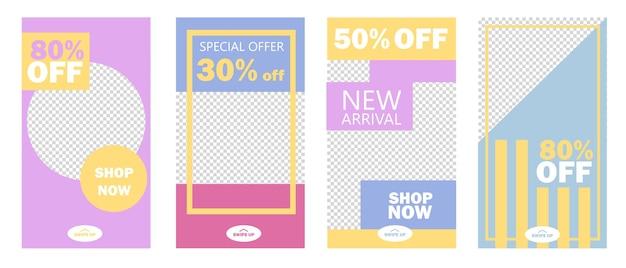 Set verhalen verkoop banner achtergrond, sjabloon foto. kan gebruiken voor website, mobiele app, flyer, coupon, cadeaubon, webdesign