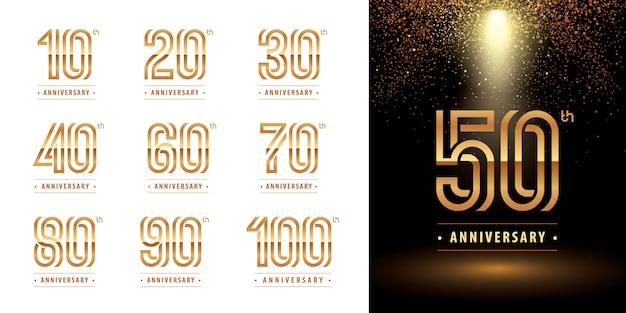 Set verjaardag logo ontwerp, vieren verjaardag logo