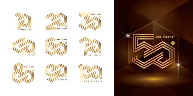 Set verjaardag logo ontwerp