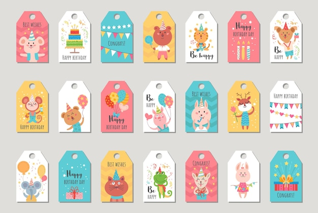 Set verjaardagscadeaulabels met babydieren