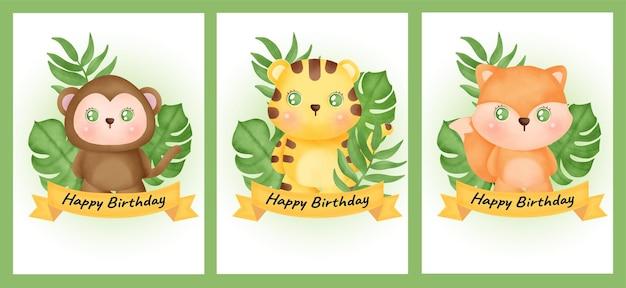Set verjaardagskaarten met aap, tijger en vos in aquarelstijl.