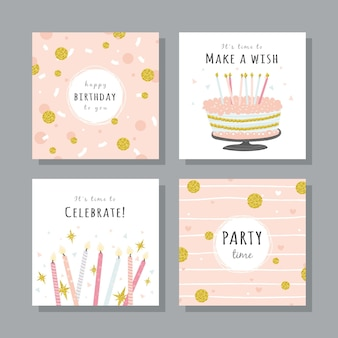 Set verjaardagskaarten met kleurrijke partijelementen