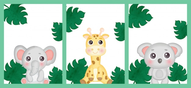 Set verjaardagskaarten met safaridieren.