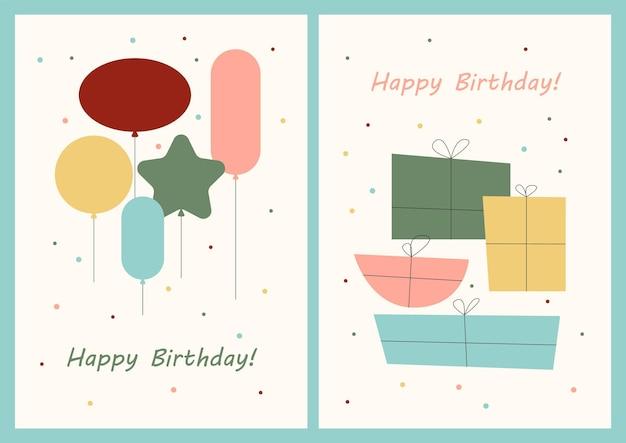 Set verjaardagskaarten ontwerp