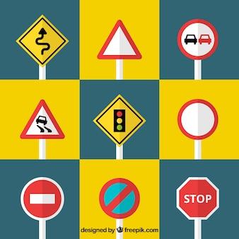 Set verkeersborden in vlakke vormgeving